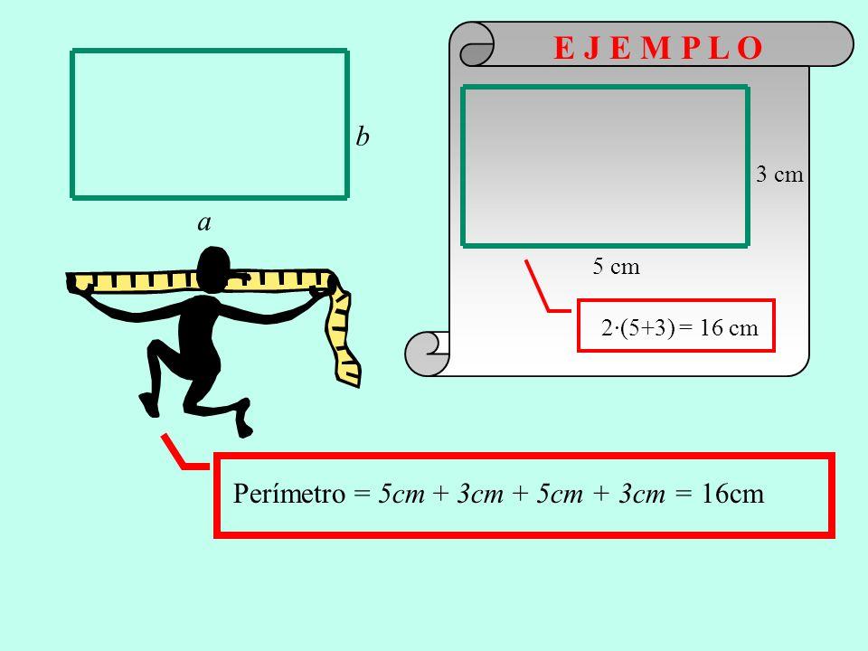 E J E M P L O b a Perímetro = 5cm + 3cm + 5cm + 3cm = 16cm 3 cm 5 cm