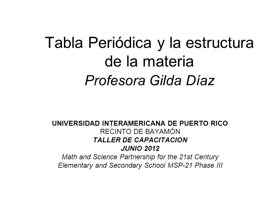 Tabla peridica y la estructura de la materia profesora gilda daz tabla peridica y la estructura de la materia profesora gilda daz urtaz Choice Image