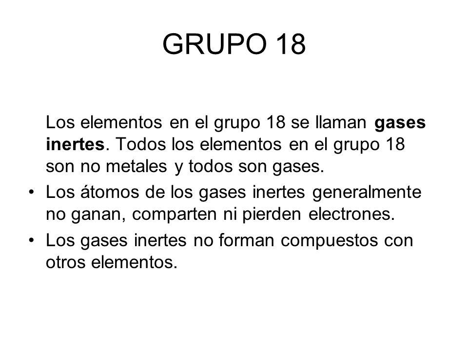 Tabla peridica y la estructura de la materia profesora gilda daz grupo 18 los elementos en el grupo 18 se llaman gases inertes todos los elementos urtaz Image collections