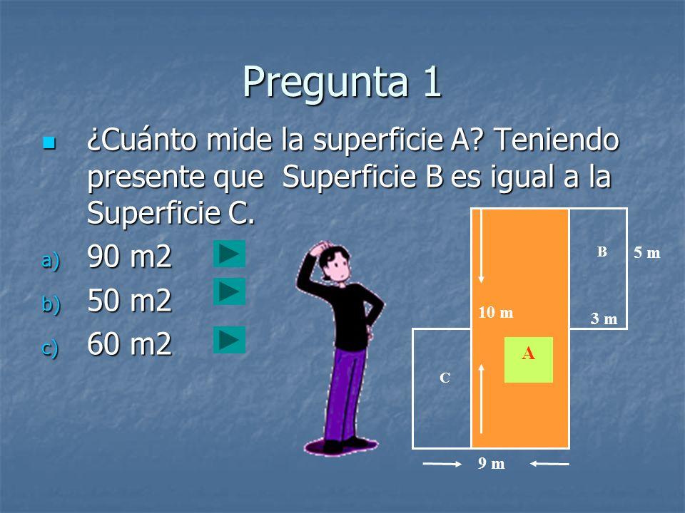 Pregunta 1 ¿Cuánto mide la superficie A Teniendo presente que Superficie B es igual a la Superficie C.