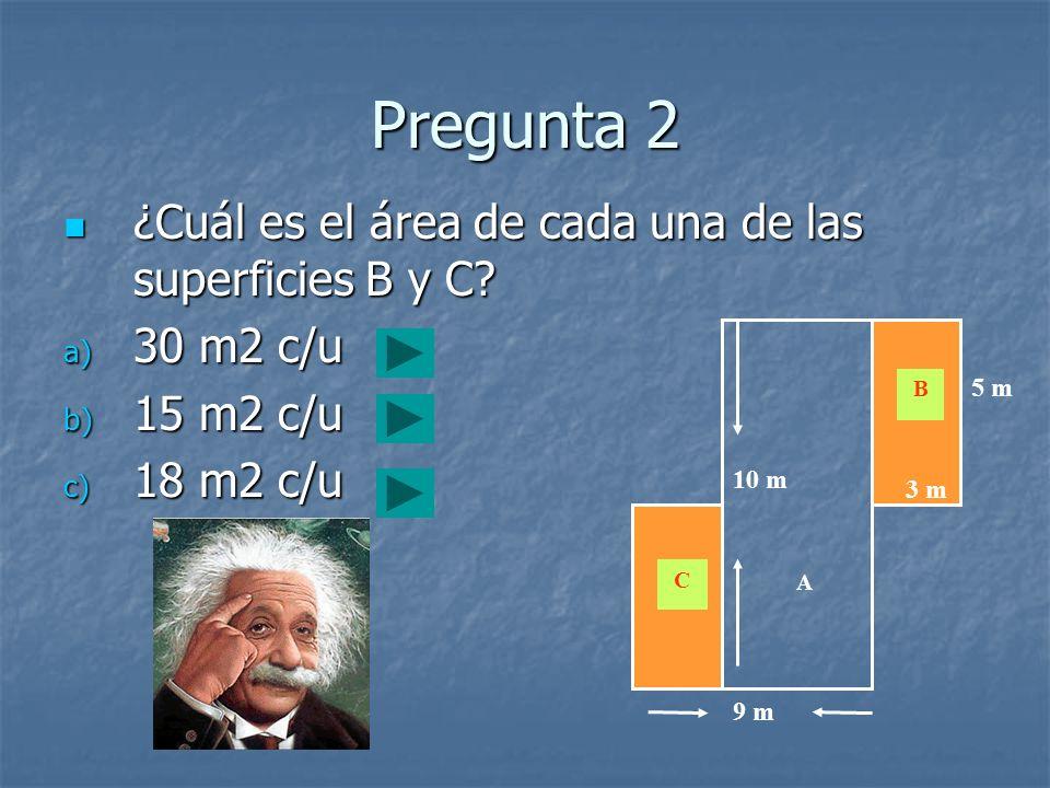 Pregunta 2 ¿Cuál es el área de cada una de las superficies B y C