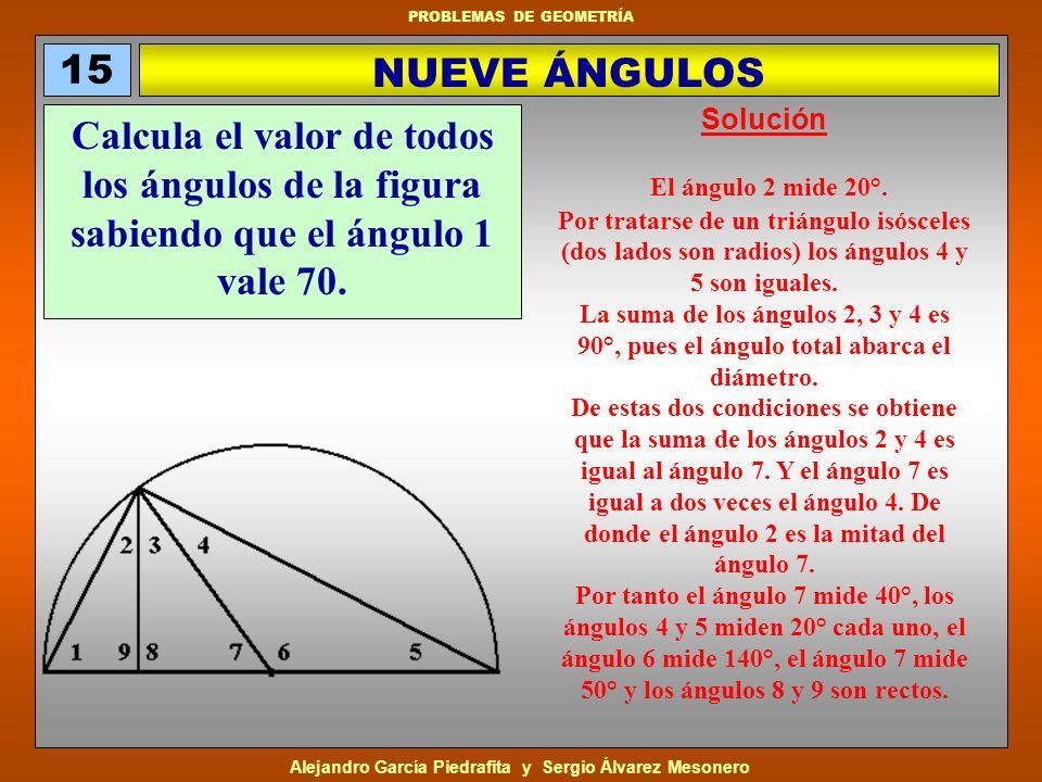 15 NUEVE ÁNGULOS. Solución. Calcula el valor de todos los ángulos de la figura sabiendo que el ángulo 1 vale 70.