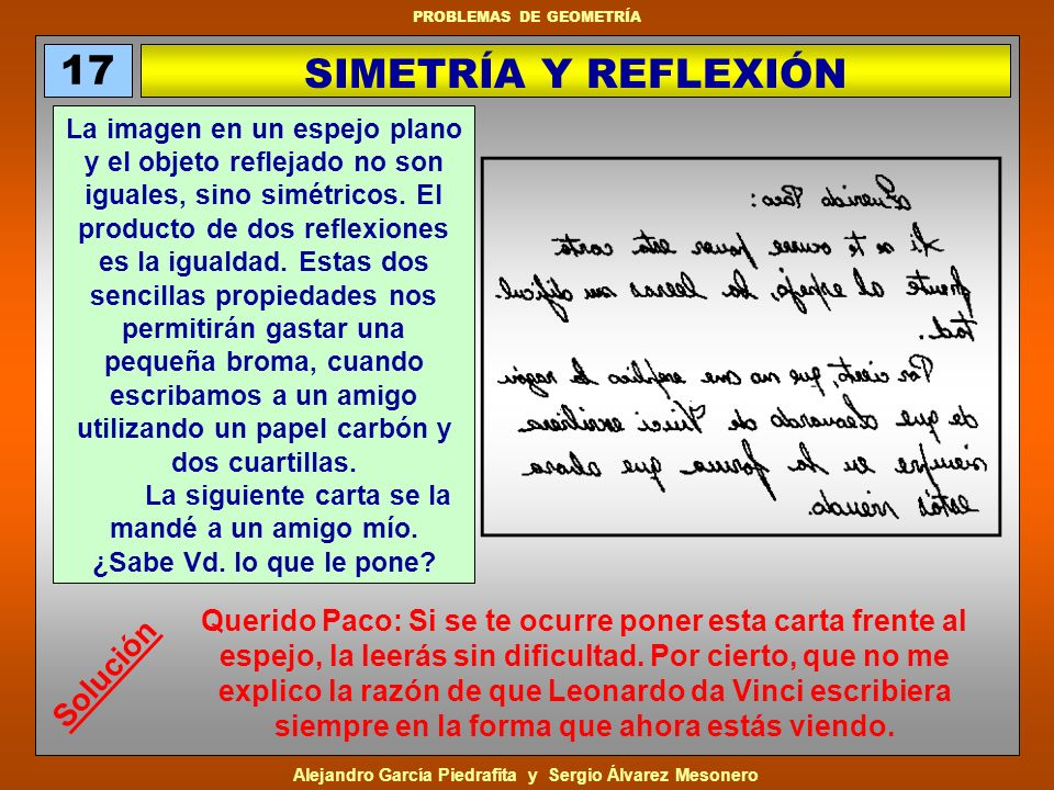 17 SIMETRÍA Y REFLEXIÓN Solución