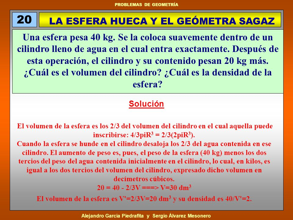 LA ESFERA HUECA Y EL GEÓMETRA SAGAZ