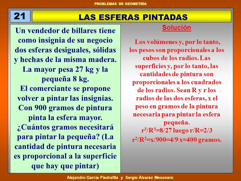 21LAS ESFERAS PINTADAS. Solución.
