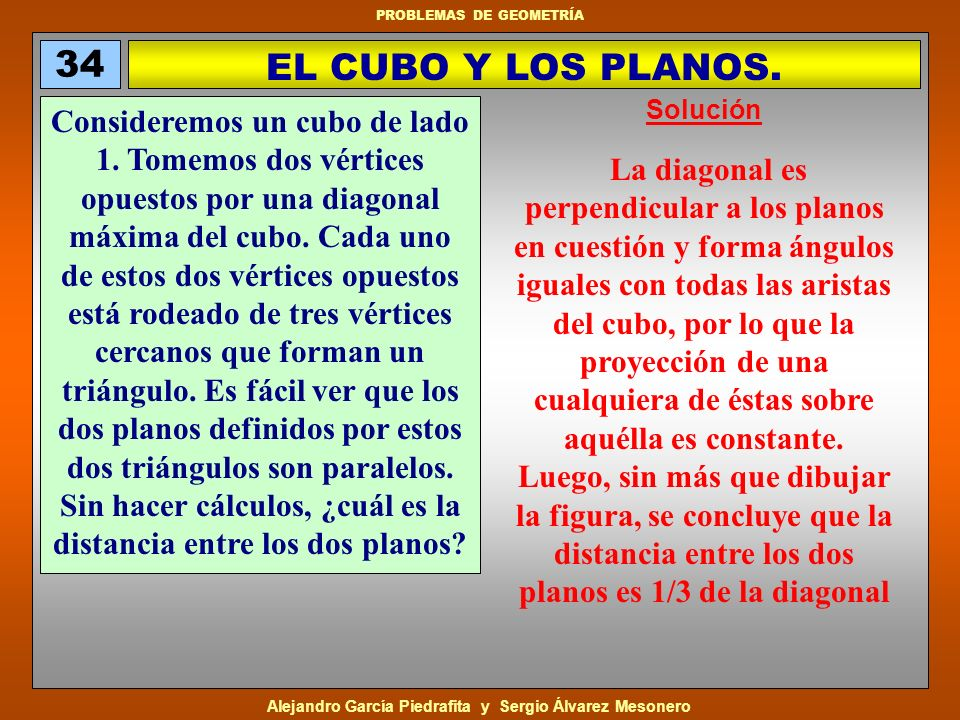 34 EL CUBO Y LOS PLANOS. Solución.