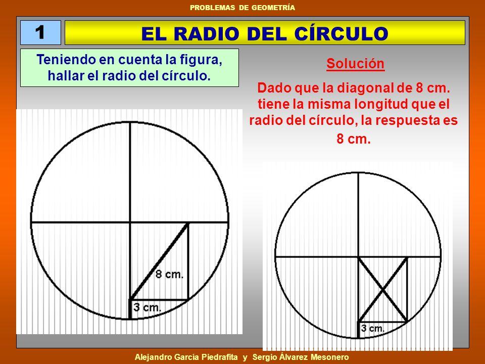 Teniendo en cuenta la figura, hallar el radio del círculo.