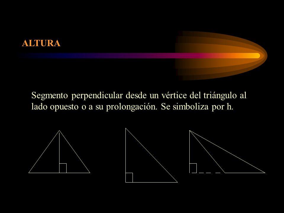 ALTURA Segmento perpendicular desde un vértice del triángulo al lado opuesto o a su prolongación.