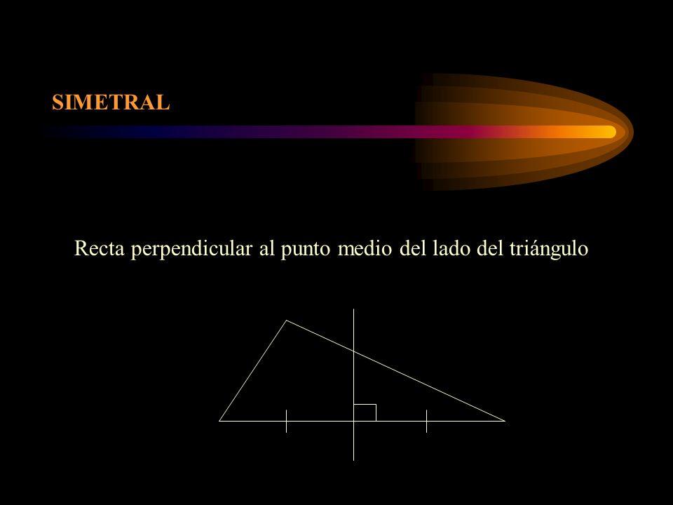 SIMETRAL Recta perpendicular al punto medio del lado del triángulo