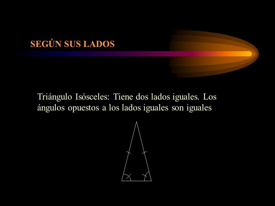 SEGÚN SUS LADOS Triángulo Isósceles: Tiene dos lados iguales.