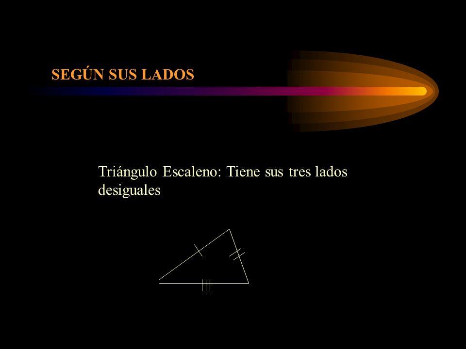 SEGÚN SUS LADOS Triángulo Escaleno: Tiene sus tres lados desiguales