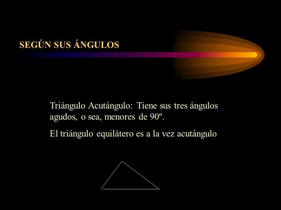 SEGÚN SUS ÁNGULOS Triángulo Acutángulo: Tiene sus tres ángulos agudos, o sea, menores de 90º.