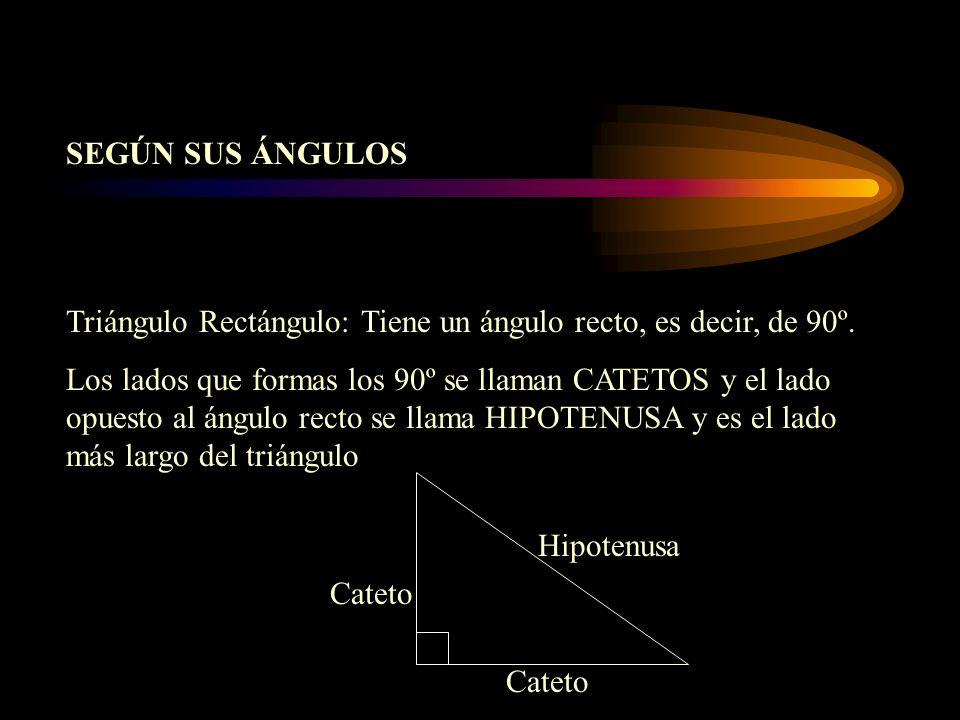 SEGÚN SUS ÁNGULOS Triángulo Rectángulo: Tiene un ángulo recto, es decir, de 90º.
