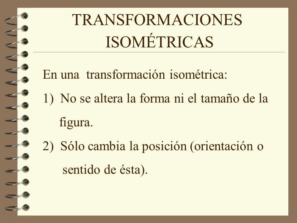 TRANSFORMACIONES ISOMÉTRICAS En una transformación isométrica: