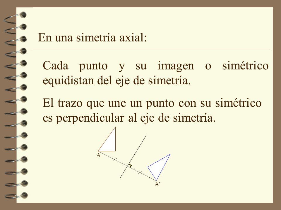Cada punto y su imagen o simétrico equidistan del eje de simetría.