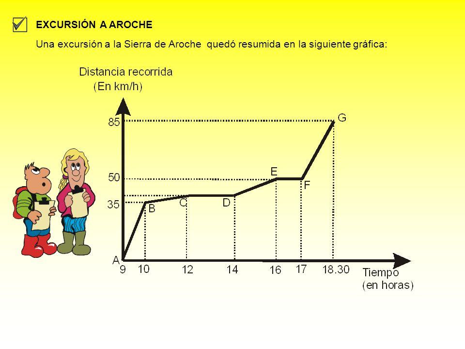 EXCURSIÓN A AROCHE Una excursión a la Sierra de Aroche quedó resumida en la siguiente gráfica: