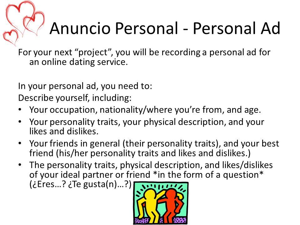 Anuncio Personal - Personal Ad