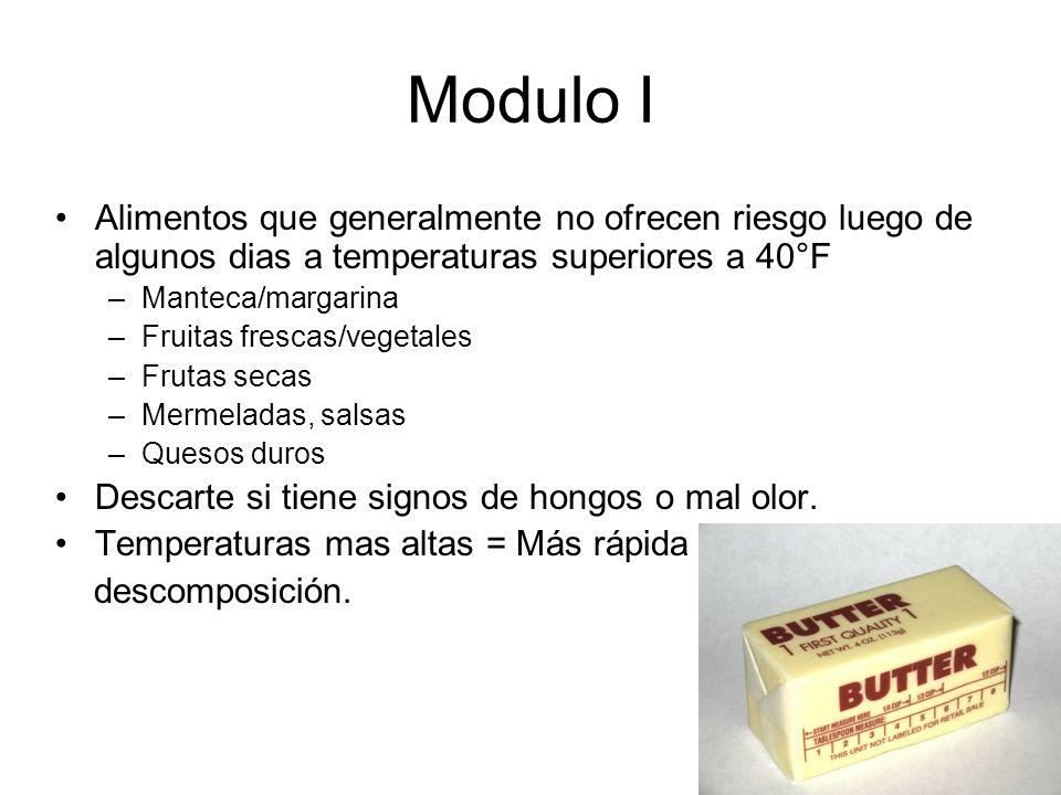 Modulo I Alimentos que generalmente no ofrecen riesgo luego de algunos dias a temperaturas superiores a 40°F.