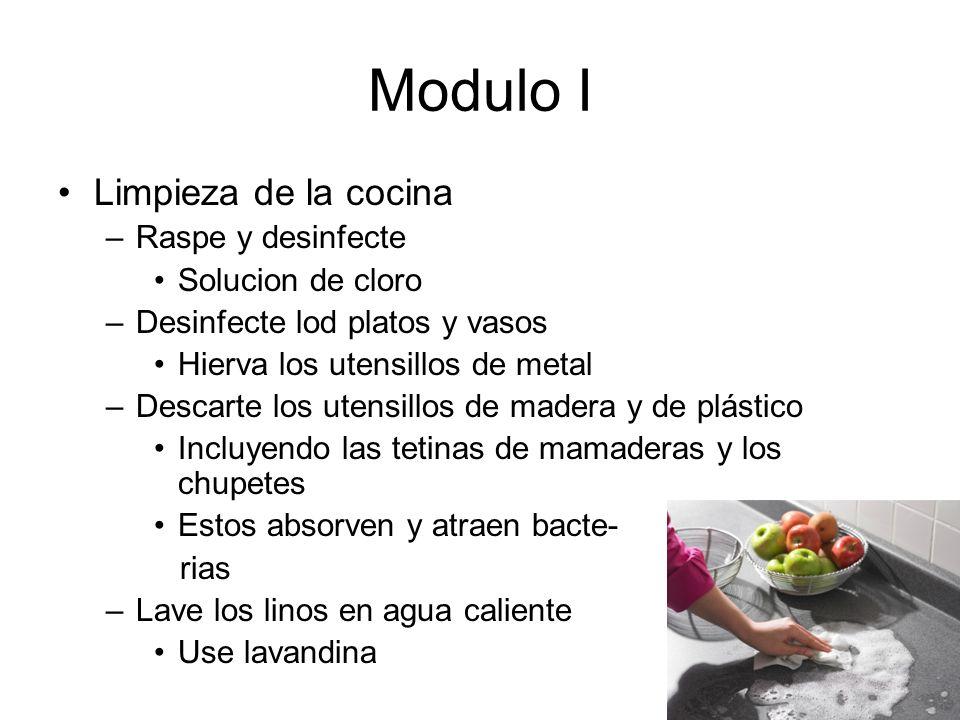 Modulo I Limpieza de la cocina Raspe y desinfecte Solucion de cloro