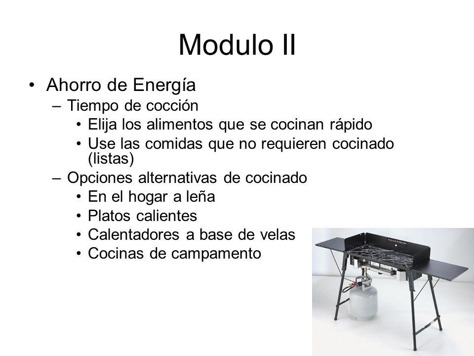 Modulo II Ahorro de Energía Tiempo de cocción