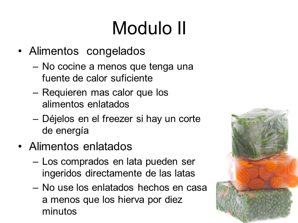 Modulo II Alimentos congelados Alimentos enlatados
