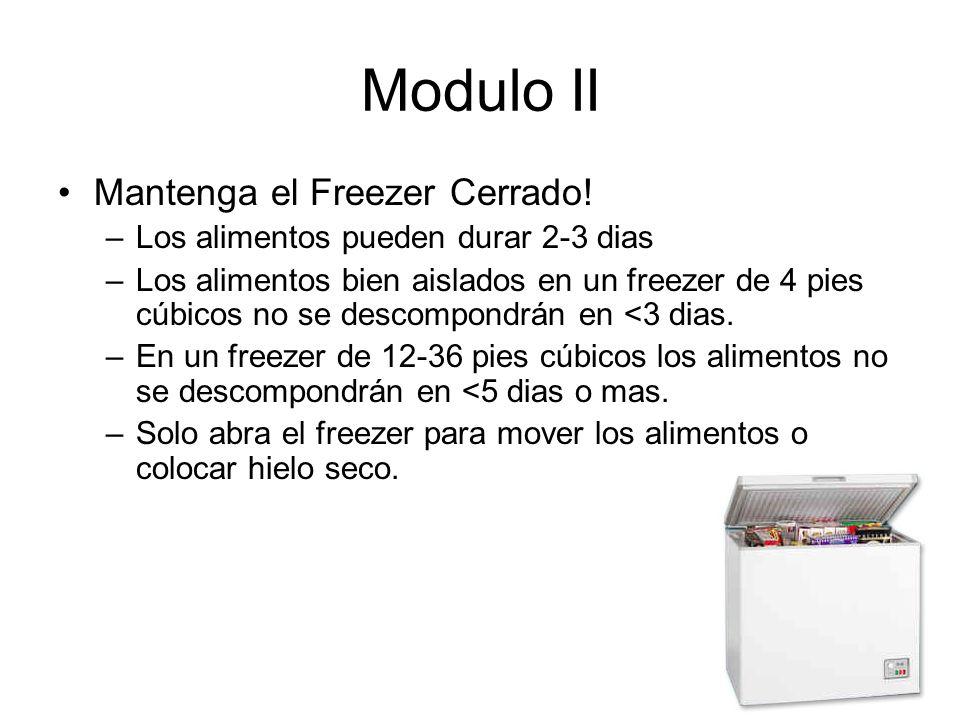 Modulo II Mantenga el Freezer Cerrado!