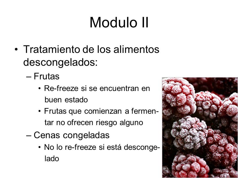 Modulo II Tratamiento de los alimentos descongelados: Frutas