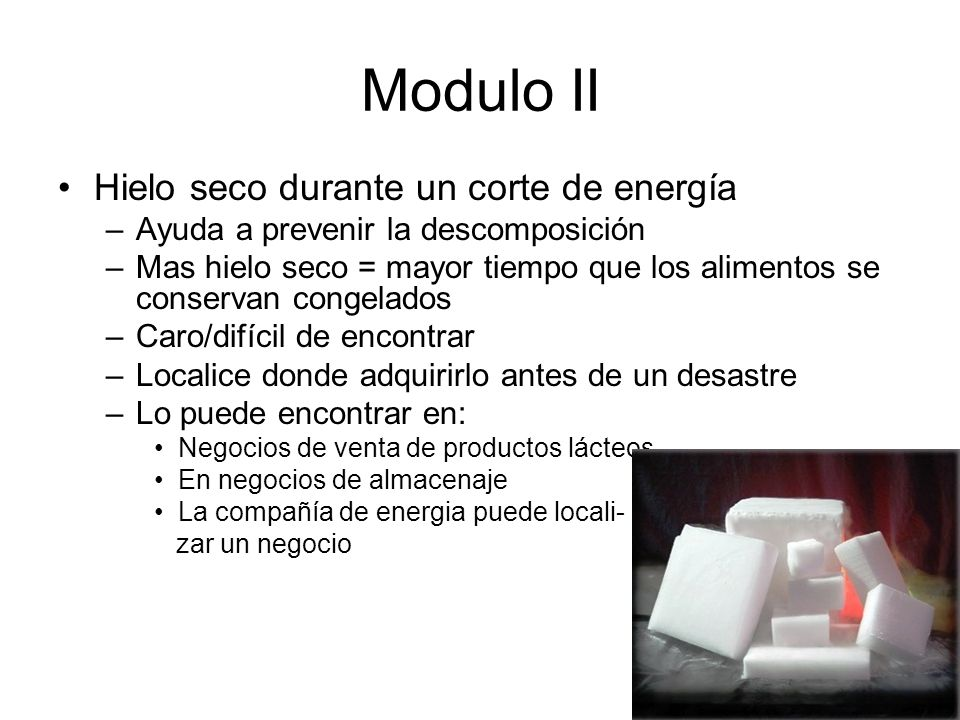 Modulo II Using Dry Ice During a Power Failure