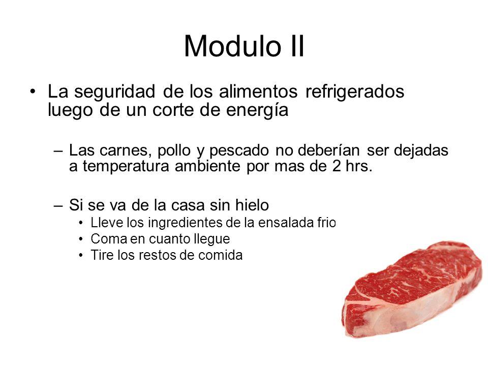 Modulo II La seguridad de los alimentos refrigerados luego de un corte de energía.
