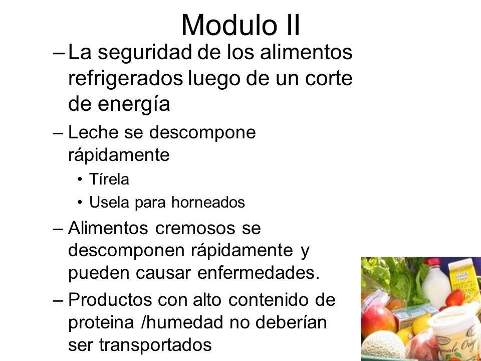 Modulo II La seguridad de los alimentos refrigerados luego de un corte de energía. Leche se descompone rápidamente.