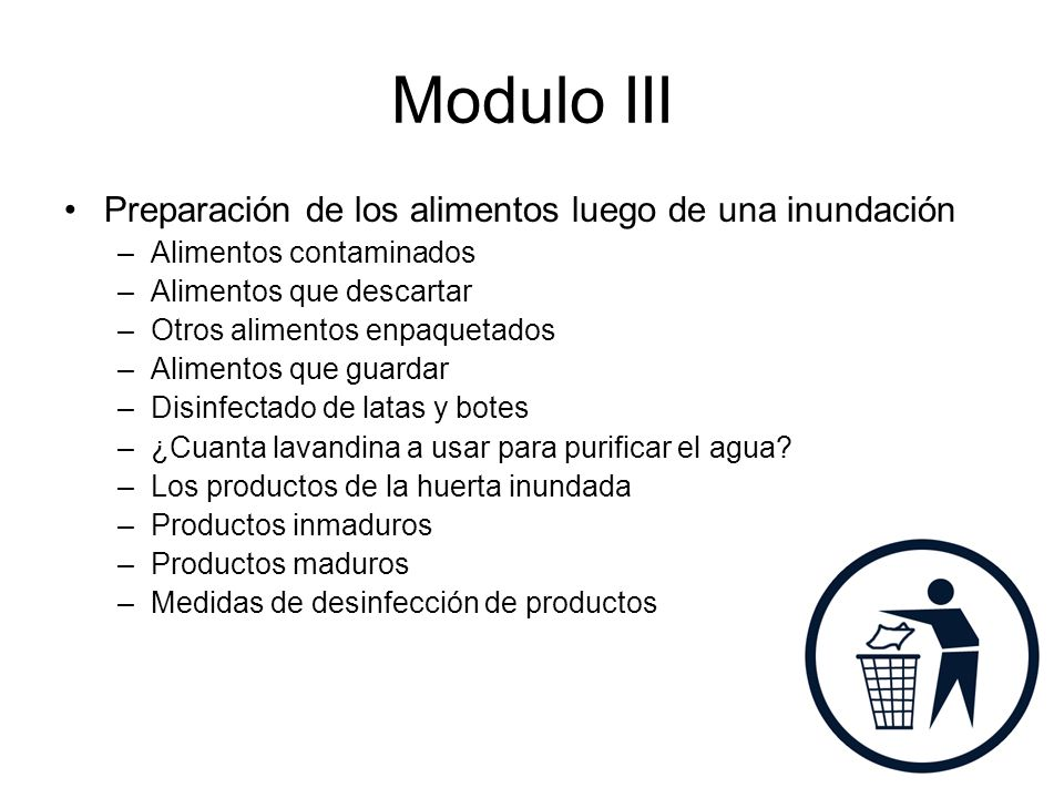 Modulo III Meal Preparation and Food Safety after a Flood