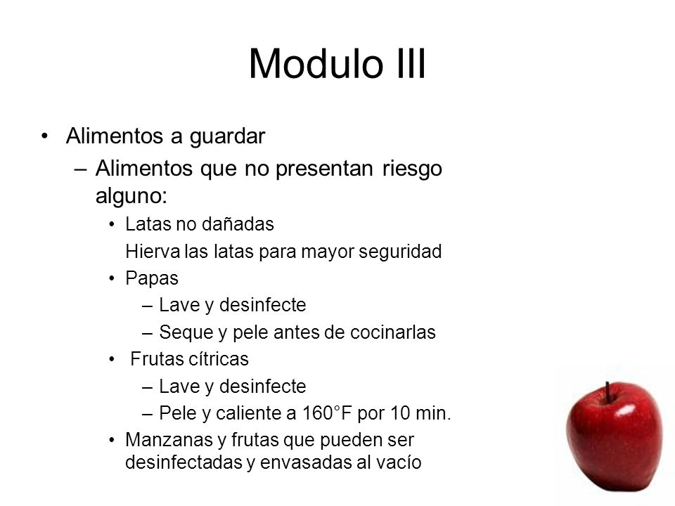 Modulo III Food To Keep Alimentos a guardar