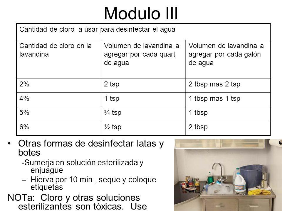 Modulo III Otras formas de desinfectar latas y botes