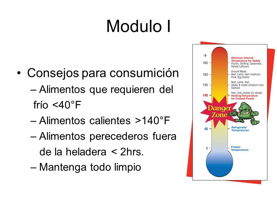 Modulo I Consejos para consumición Alimentos que requieren del