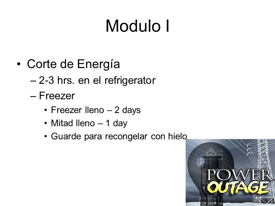 Modulo I Corte de Energía 2-3 hrs. en el refrigerator Freezer