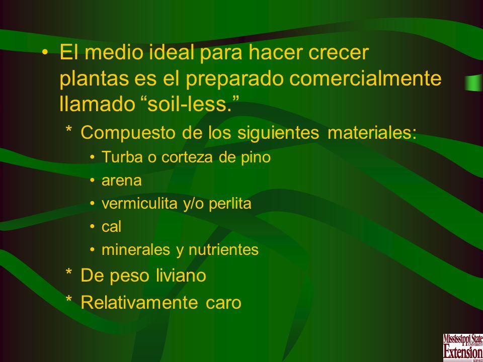 El medio ideal para hacer crecer plantas es el preparado comercialmente llamado soil-less.