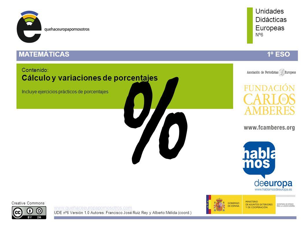 % Cálculo y variaciones de porcentajes Unidades Didácticas Europeas