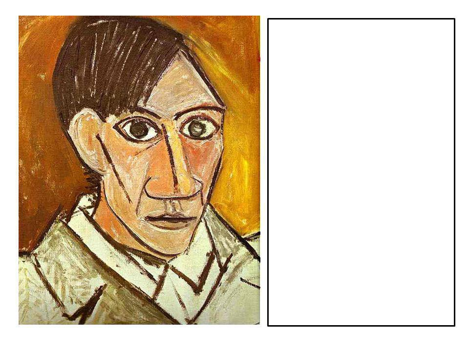 This is a self-portrait by Picasso. Generate a physical description (p