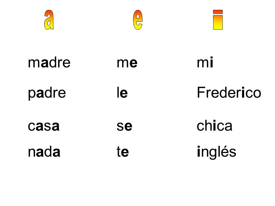 a e i madre me mi padre le Frederico casa se chica nada te inglés