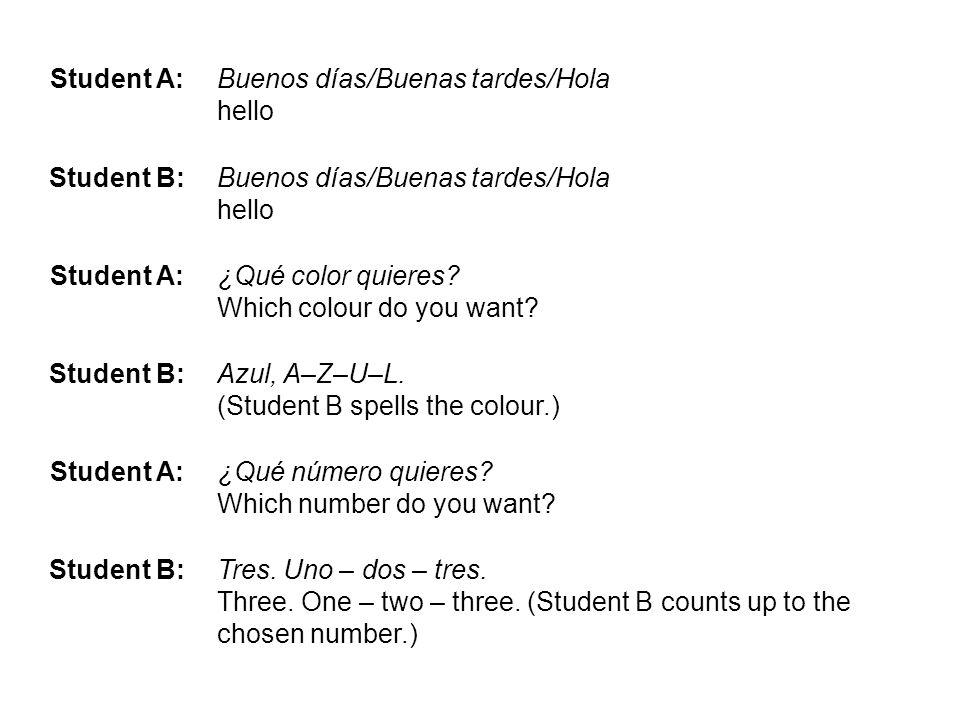 Student A: Buenos días/Buenas tardes/Hola hello. Student B: ¿Qué color quieres Which colour do you want