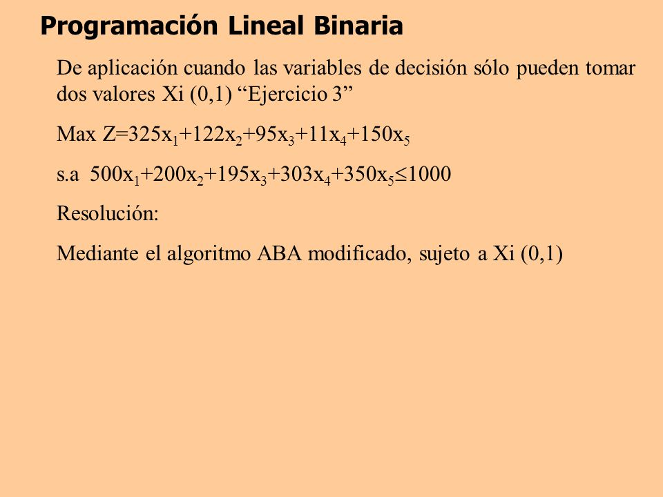 Programación Lineal Binaria