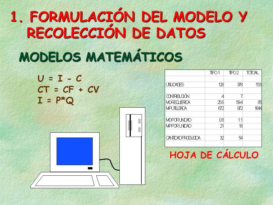 1. FORMULACIÓN DEL MODELO Y RECOLECCIÓN DE DATOS