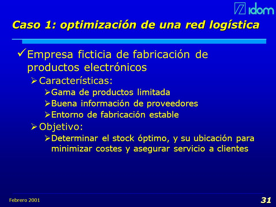 Caso 1: optimización de una red logística
