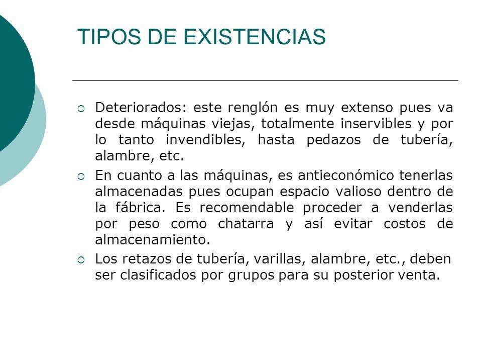 TIPOS DE EXISTENCIAS