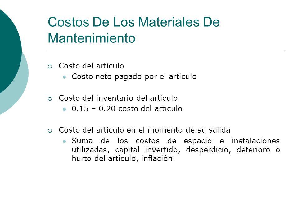Costos De Los Materiales De Mantenimiento