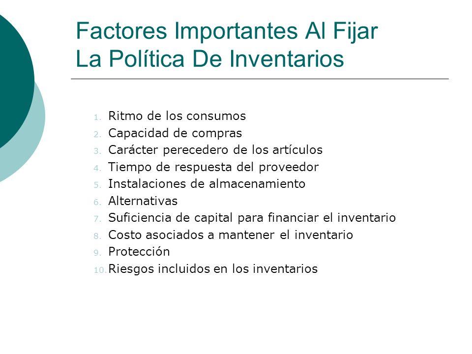 Factores Importantes Al Fijar La Política De Inventarios