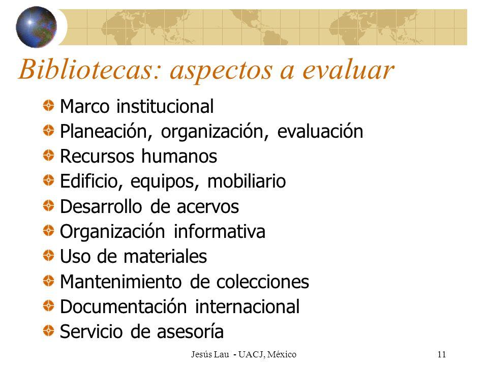 Bibliotecas: aspectos a evaluar