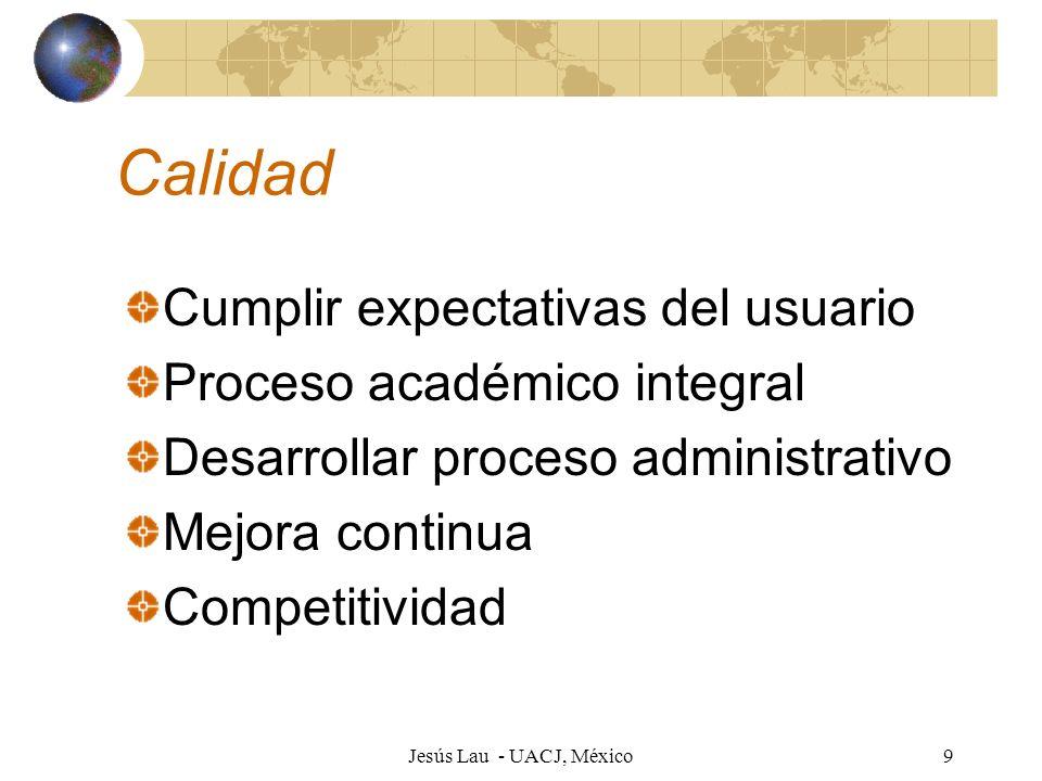 Calidad Cumplir expectativas del usuario Proceso académico integral