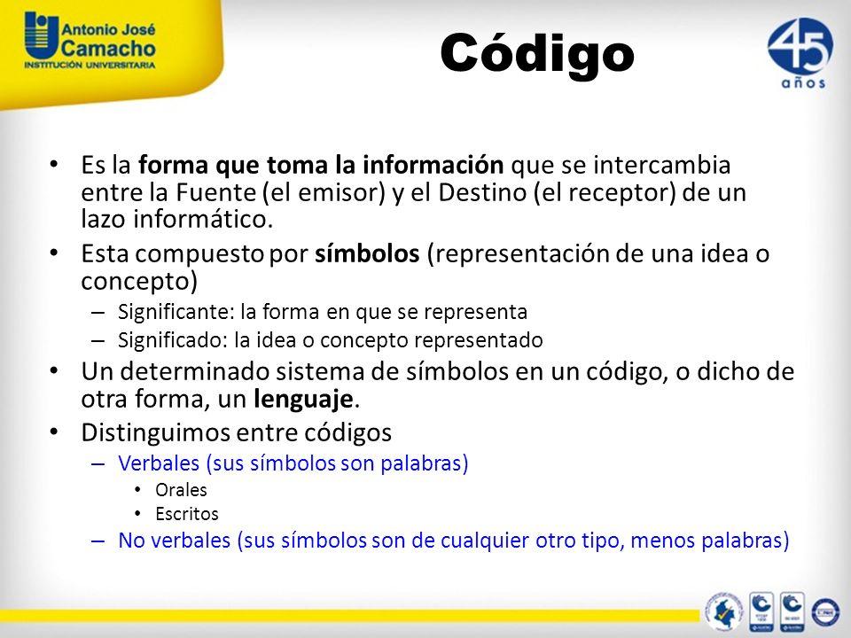 Código Es la forma que toma la información que se intercambia entre la Fuente (el emisor) y el Destino (el receptor) de un lazo informático.