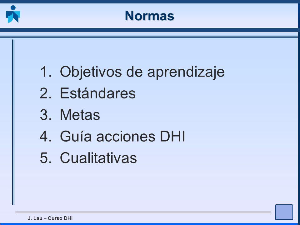 Objetivos de aprendizaje Estándares Metas Guía acciones DHI